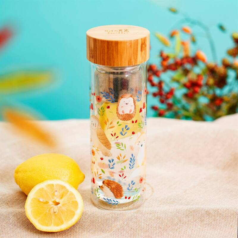 FOREST FOLK GLASS WATER BOTTLE WITH INFUSER