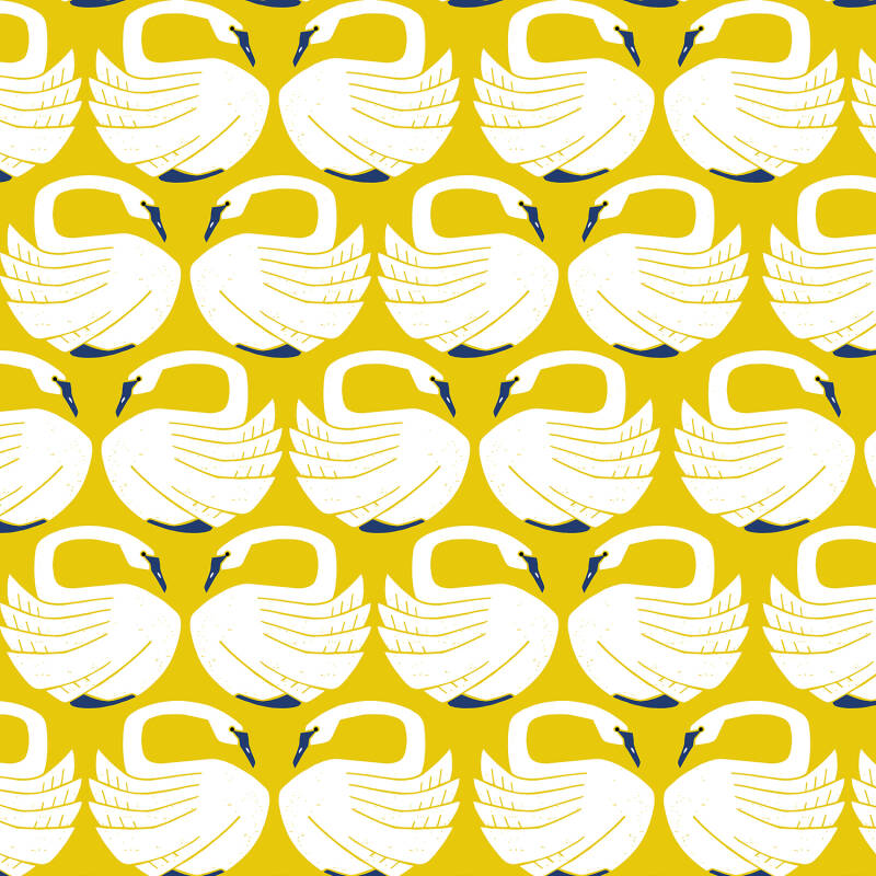 On a spring day - loving swans (geel)