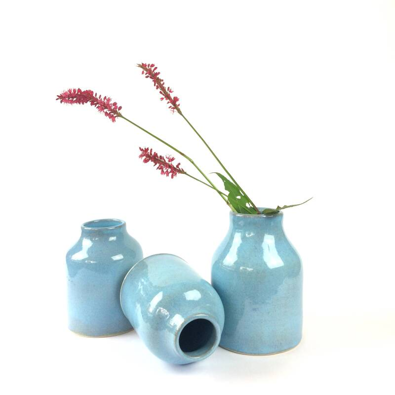 Set of Small Blue Vases