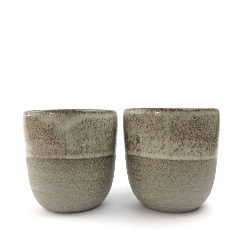 Set of 2 Handmade Brownish-Grey Cups