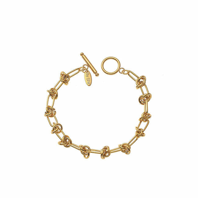 BY SHIR ARMBAND LUXE MILOU EDELSTAAL 14K VERGULD