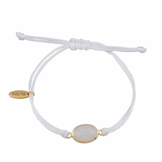 BY SHIR ARMBAND SILK KOORD WIT STEEN WIT GOUD