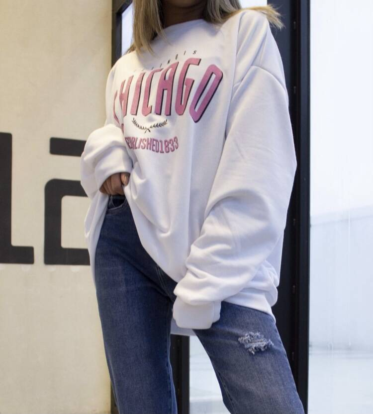 Chicago Sweater Pink/White