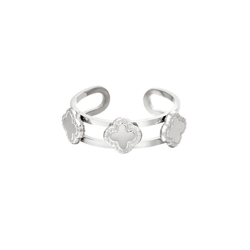 Three Clovers Ring Silver