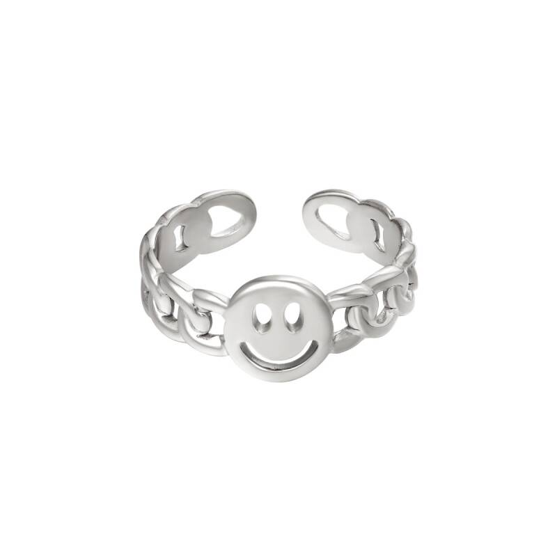 Smiley Chain Ring Silver