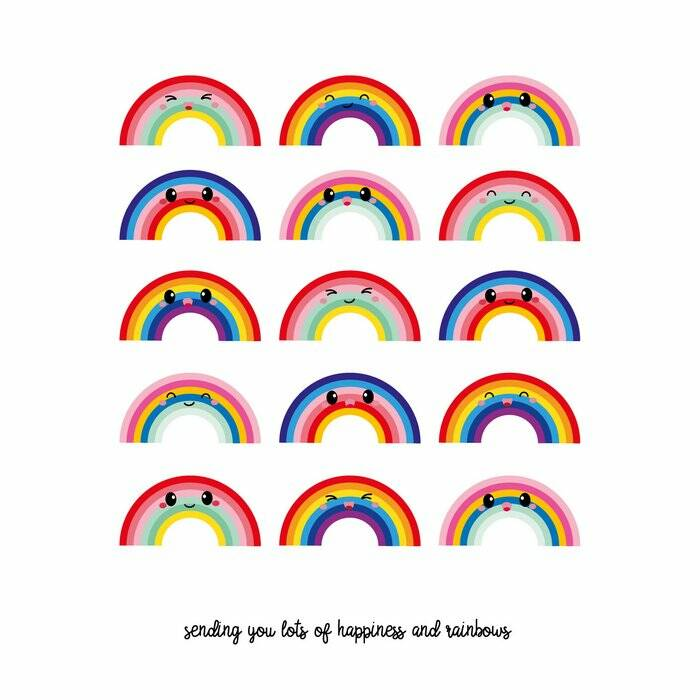 "Postkaart ""Sending you lots of happiness and rainbows"""