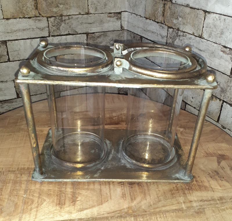 Old Gold Metal Double Cilinder Lantern