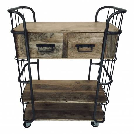 Trolley with 2 drawers Steel