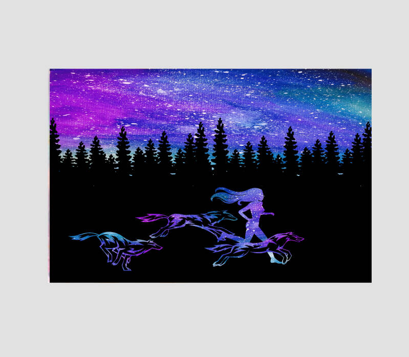 Woman That Runs With The Wolves Art Print