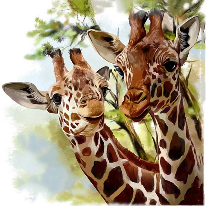 2 giraffe's - Diamond painting