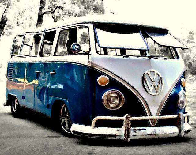 Blauwe vw bus - Diamond Painting