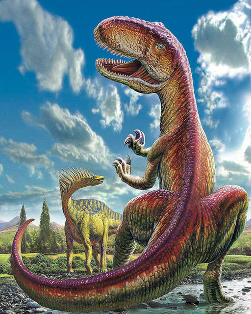 Dinosaurus , rood - Diamond painting