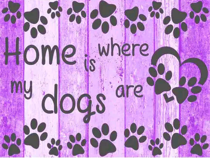 Home is where the dogs are paars / roze  - Diamond Painting