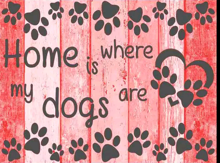 Home is where the dogs are rood - Diamond painting