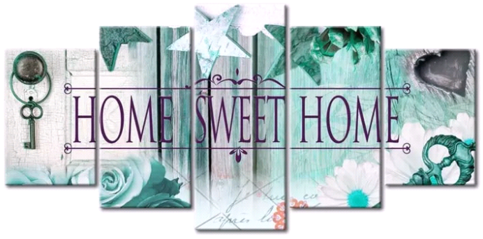 Home sweet home l. blauw - Diamond Painting