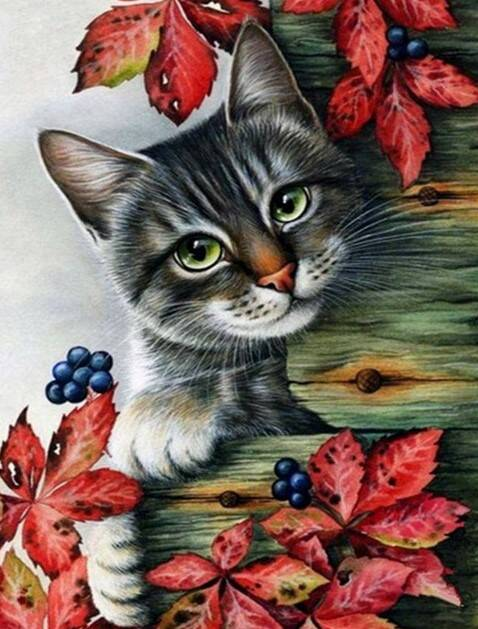 Grijze kat , rode bladeren - Diamond Painting
