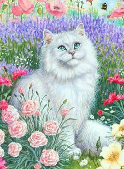 perzische kat wit , bloemen - Diamond Painting