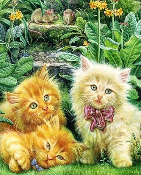 3 kittens in het gras , bloemen - Diamond Painting