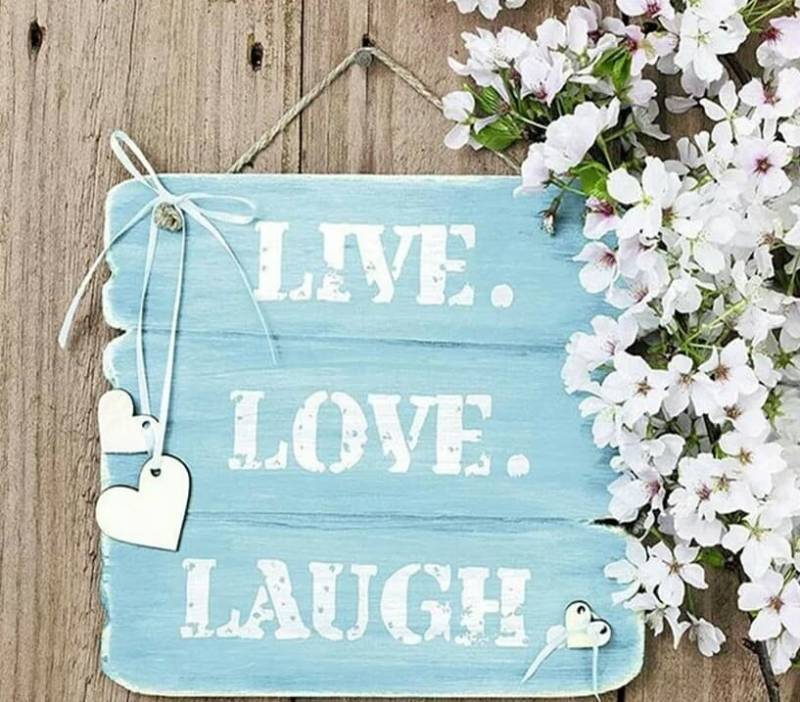 Live , love , laugh , bloemen  - Diamond Painting rond