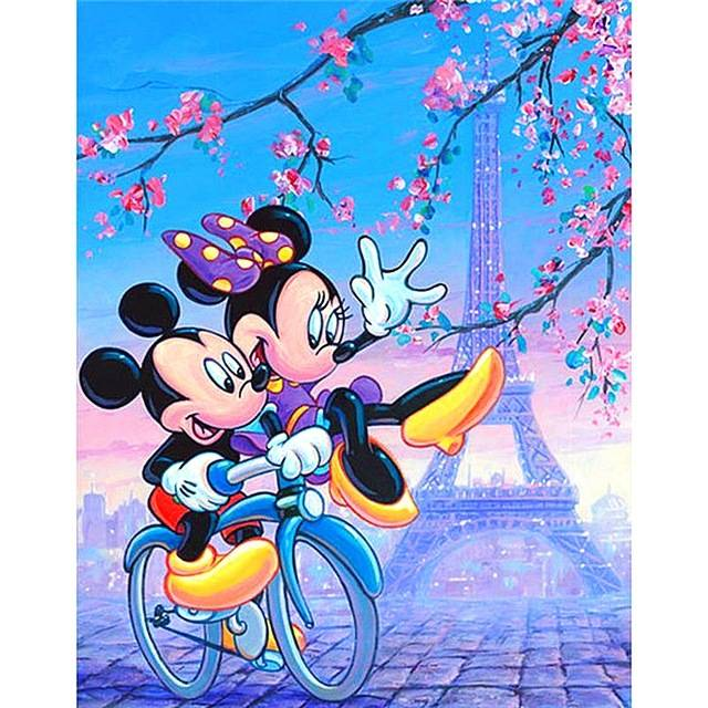 mickey , mini op de fiets - Diamond Painting