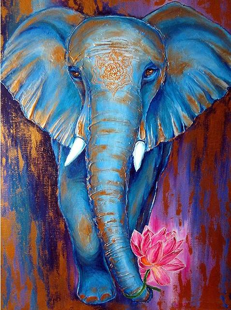 Olifant met lotus  - Diamond Painting