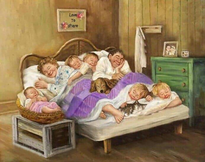Opa , oma , kleinkinderen in bed - Diamond Painting Rond