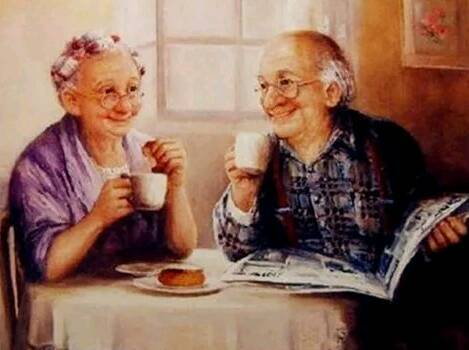Opa en oma , krant - Diamond Painting