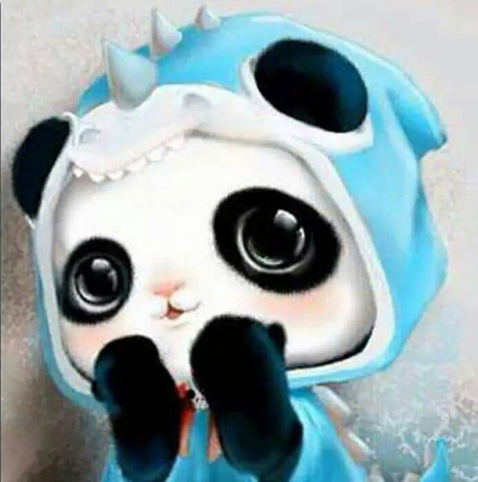 Panda , blauwe muts - Diamond Painting