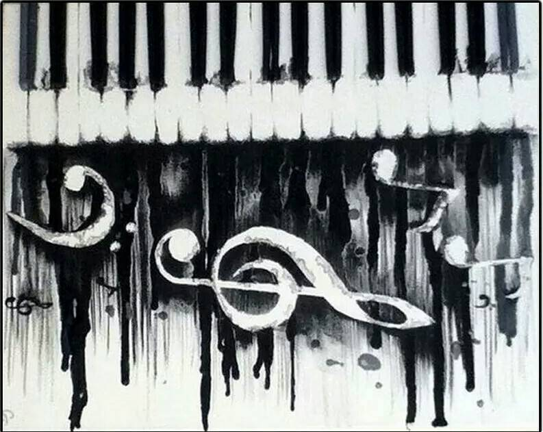 Piano , muziek noten - Diamond Painting