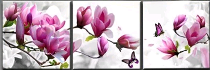 3 luik magnolia tak - Diamond Painting