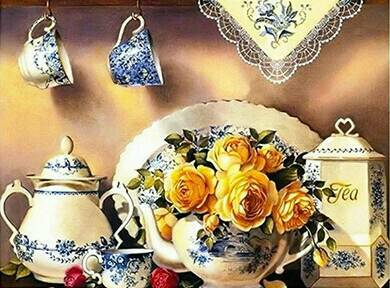 Thee servies , gele rozen - Diamond Painting Rond