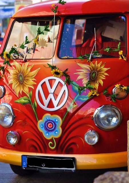 Vw bus rood , bloemen - Diamond Painting