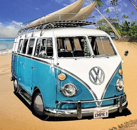 Vw bus , surfplank - Diamond Painting Rond