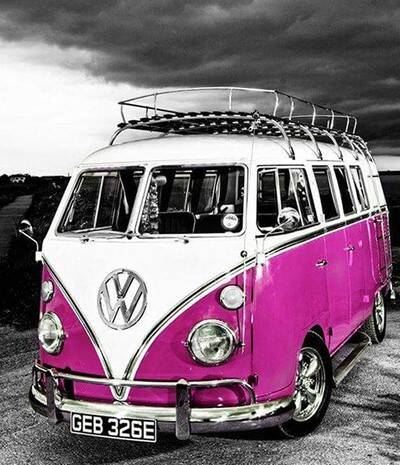 Roze vw bus - Diamond Painting Rond