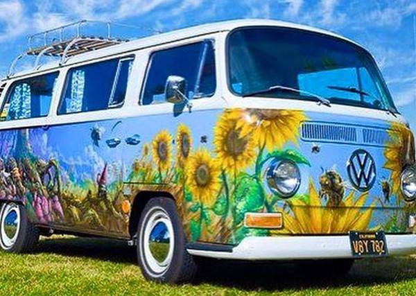 vw bus , zonnebloemen - Diamond painting