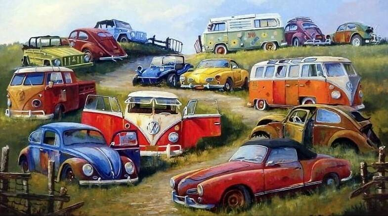 Volks wagens  , helling - Diamond Painting Rond