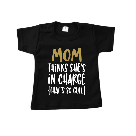T-shirt Mom in charge roze of zwart