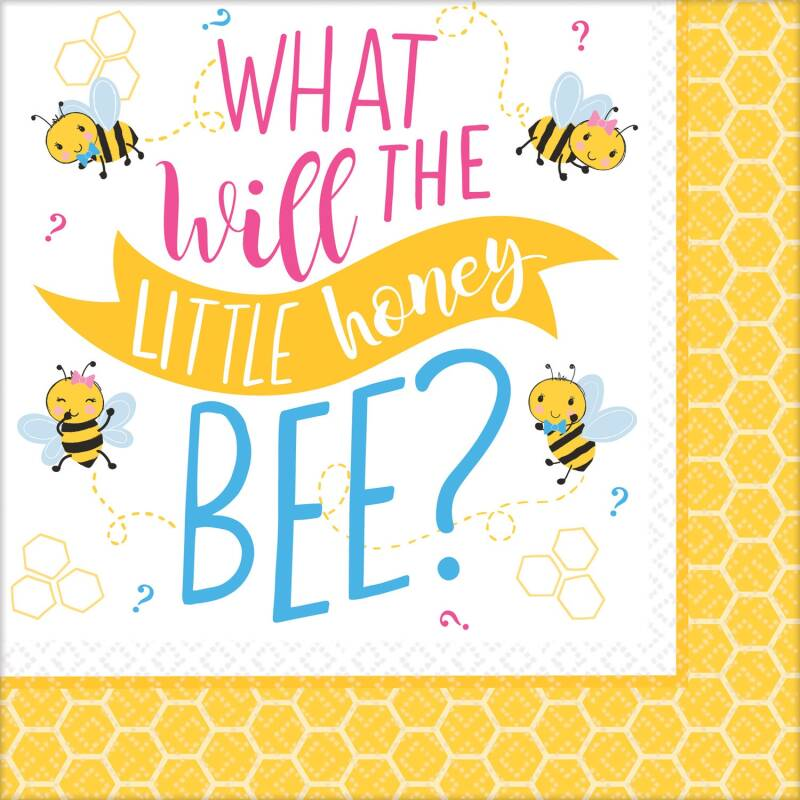 "Amscan servetten babyshower ""What will it Bee?"" 16 stuks 25 x 25 cm"