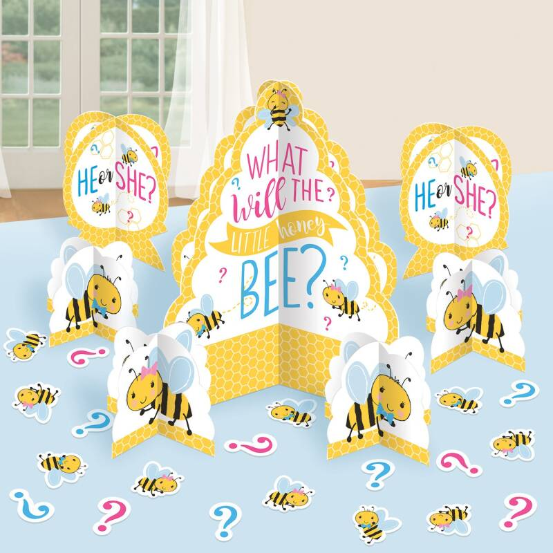 "Amscan tafeldecoratieset babyshower ""What will it Bee?"" 27-delig"