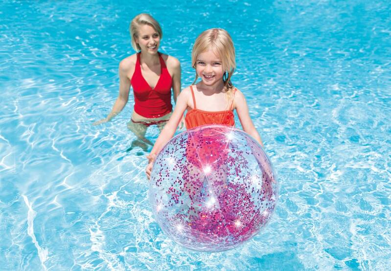 Intex strandbal Glitter 71 cm transparant paars of goud