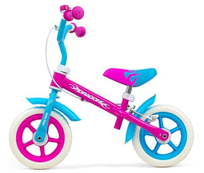 Milly Mally loopfiets Dragon 10 Inch Junior Knijprem Roze/Blauw