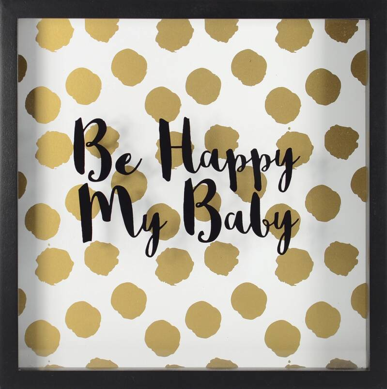 RoomMates ingelijste poster Be Happy My Baby 25,4 cm goud