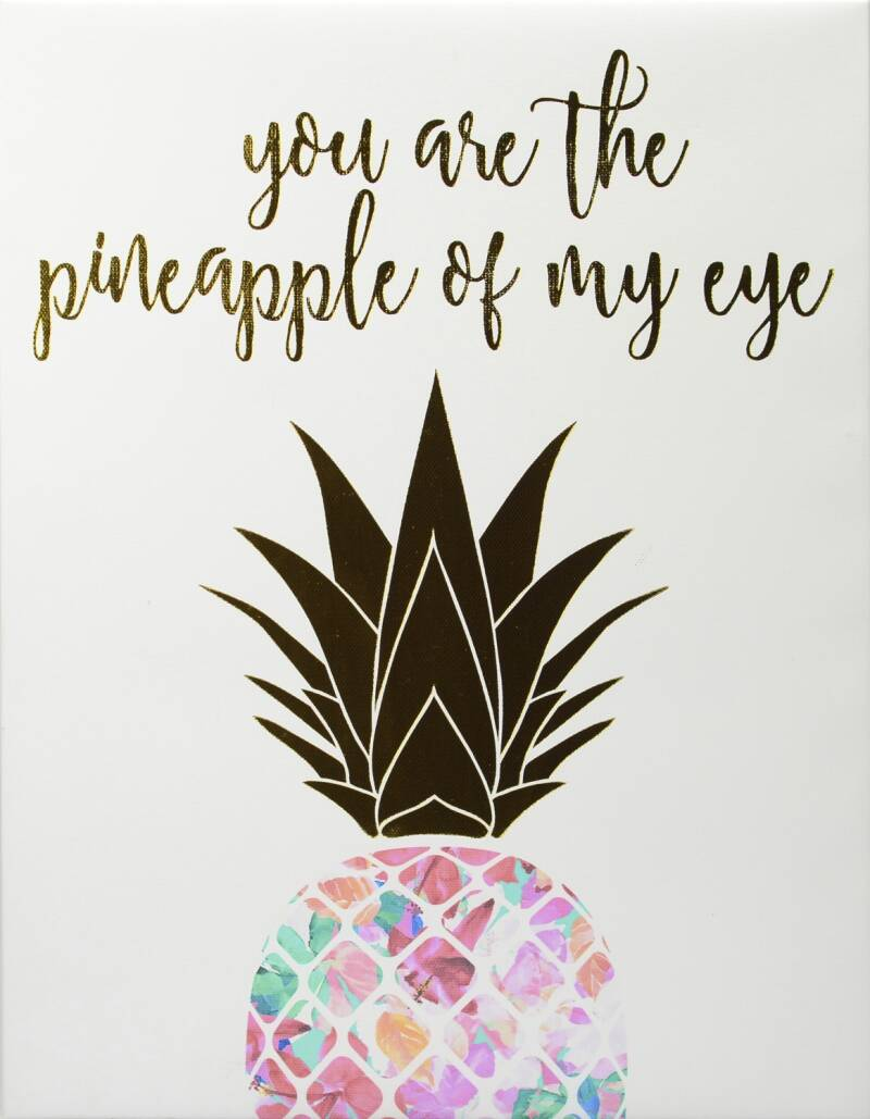 RoomMates schilderij you are the pineapple of my eye 36 cm goud