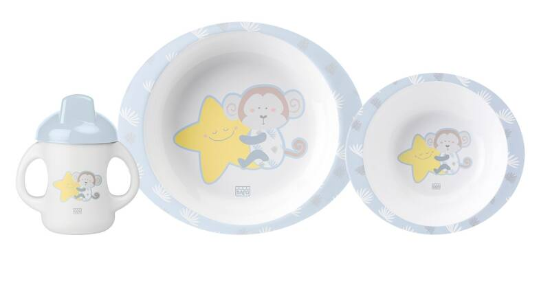 Saro eetset Monkey Party 3-delig wit/blauw/geel