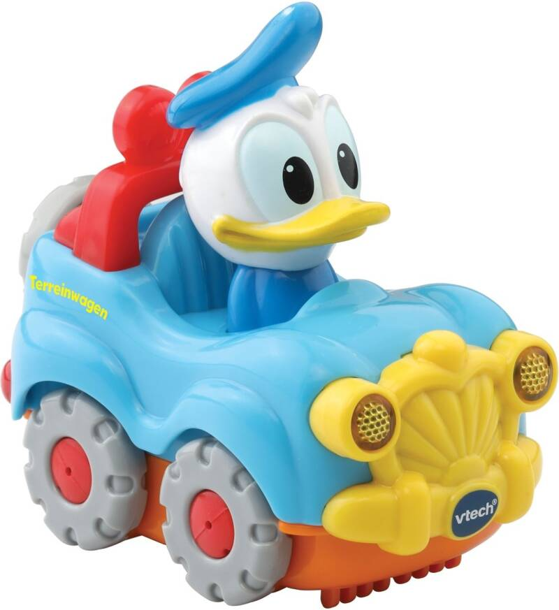 VTech Toet Toet auto: Donald Duck of Mickey Mouse in auto lichtblauw