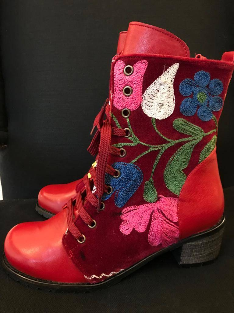 Cheerful red boot with floral print