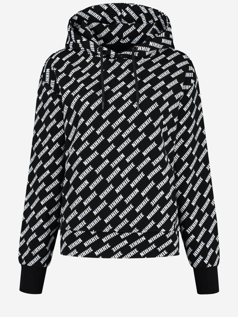 ALL OVER LOGO SHORT HOODIE