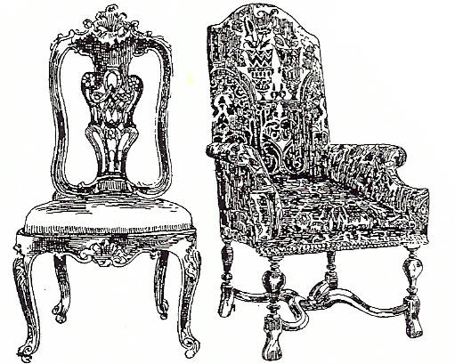 EI Q1848/45 Lyre back chair + scroll armchair