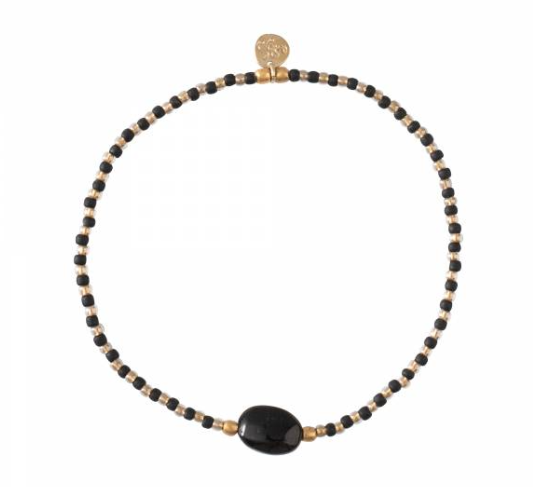 A Beautiful Story Winter Zwarte Onyx Goud Armband