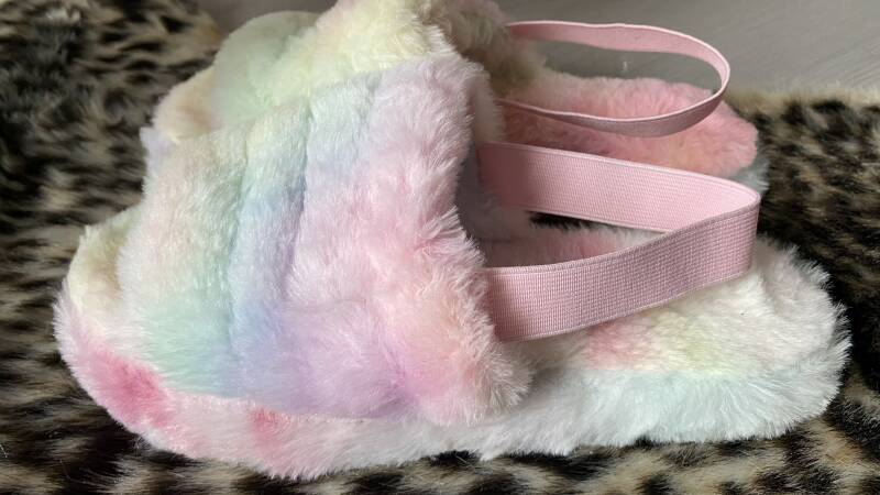 Fluffy pantoffel multicolor